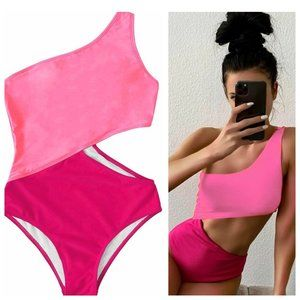 One Shoulder Cut Out Padded Bright Pink Swim Suit